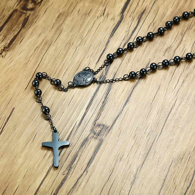 Couples Necklace Stainless Steel Cross Pendant Long Beaded Chain Link Black Gold Color Lover Men Women Choker Jewelry