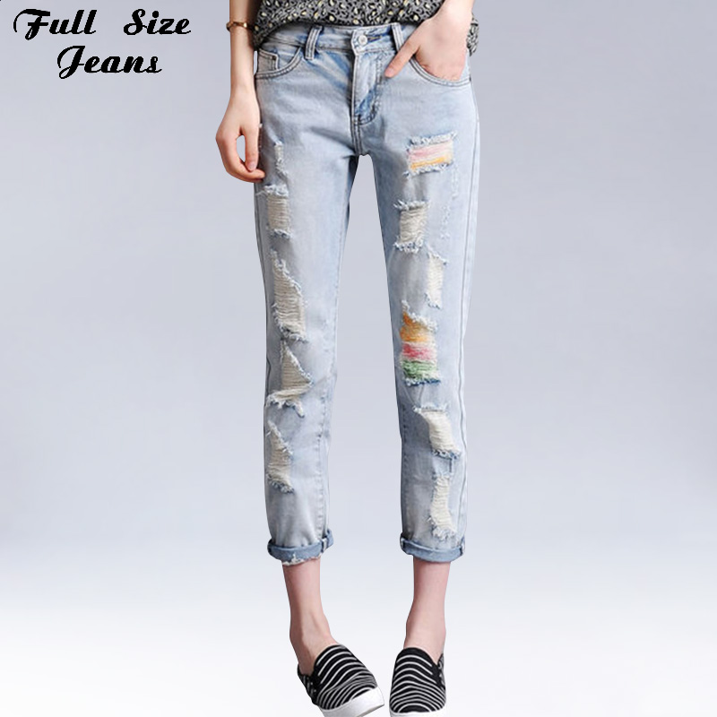 summer boyfriend plus size loose ripped cropped jeans colored print denim jean femme large size. Black Bedroom Furniture Sets. Home Design Ideas