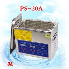 Envío libre de dhl 1 UNID globo AC110V/220 V 120 W digital de ultrasonidos PS-20A limpiador 3L 40 KHz con cesta libre para piezas pequeñas baño