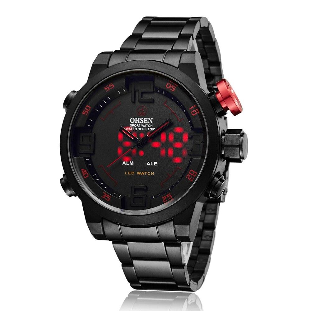 Top Brand OHSEN Volledige Staal Band Analoge LED Digitale Horloge - Herenhorloges - Foto 2