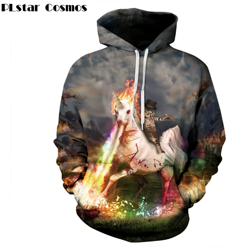 PLstar Cosmos Couple 3d hoodies With Cap Print Spitfire Unicorn Men/Women Fashion Hooded Sweatshirts casual Hoody Tracksuits