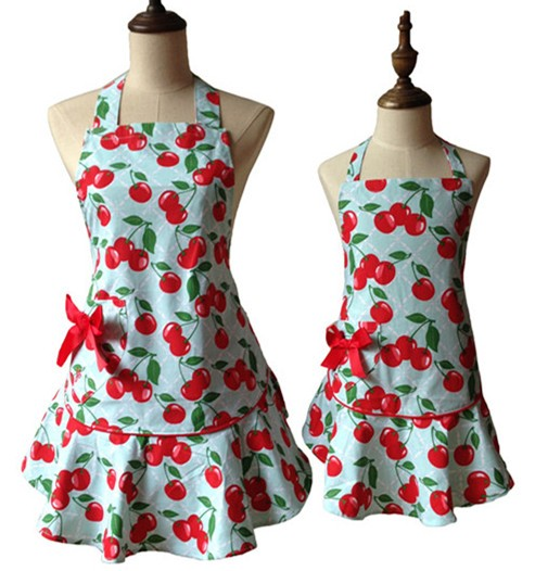 Red Floral Cherry Kitchen Apron for Women