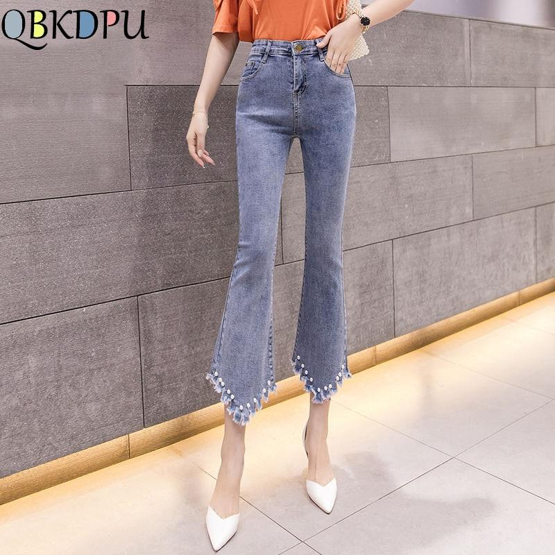 Pearl Beading Flare Jeans Fashion Tassel Pocket Elastic Slim Denim Pants 2019 New Women Female Casual Plus Size Trousers