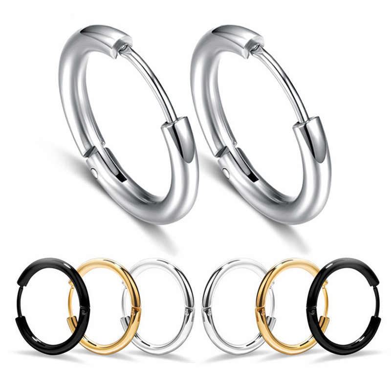 Charmsmic Mens 10mm 12mm Round Circle Hoop Earrings Women Body Piercing Hip Hop Hoop Earrings Korea Style Body Jewelry