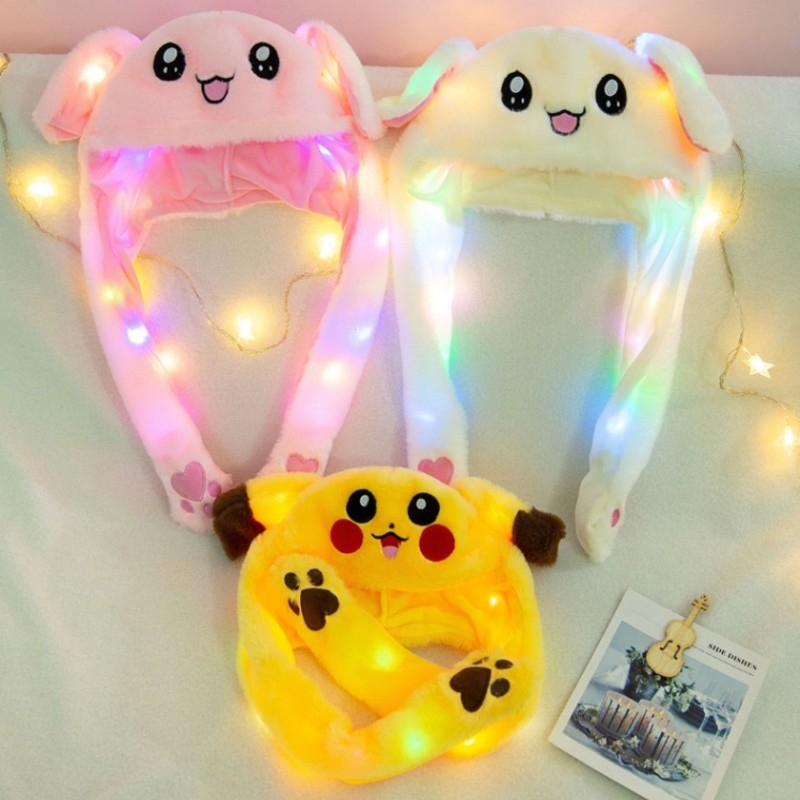 2019 New Cartoon Hats Moving Ears Cute Rabbit Pikachu Toy Hat Airbag Kawaii Funny Hat Cap Kids Plush Toy Christmas Gift Novelty & Special Use Costumes & Accessories