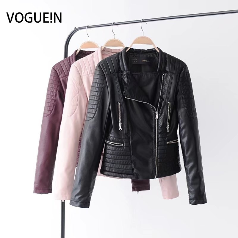 Voguein New Womens Quilted Faux Leather Motorcycle Bomber Jacket
