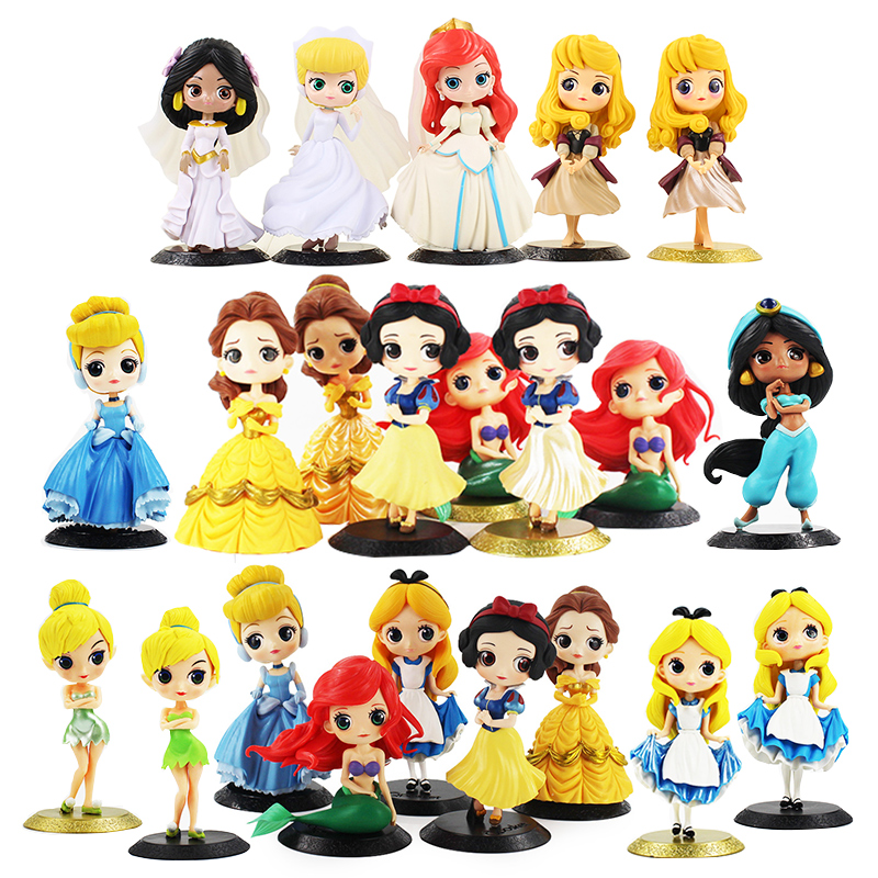5 Disney Princess Belle Tinkerbell Snow White Ariel Mermaid Action Figures Toy