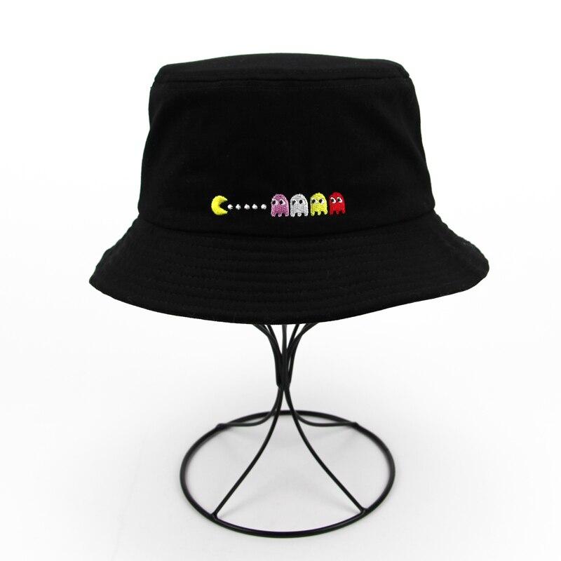 2018 New Unisex Men Women Fisherman Cap Bob Boonie Cotton Printed Fishing Brand Bucket Hat Men Hip Hop Sun Black White Hat
