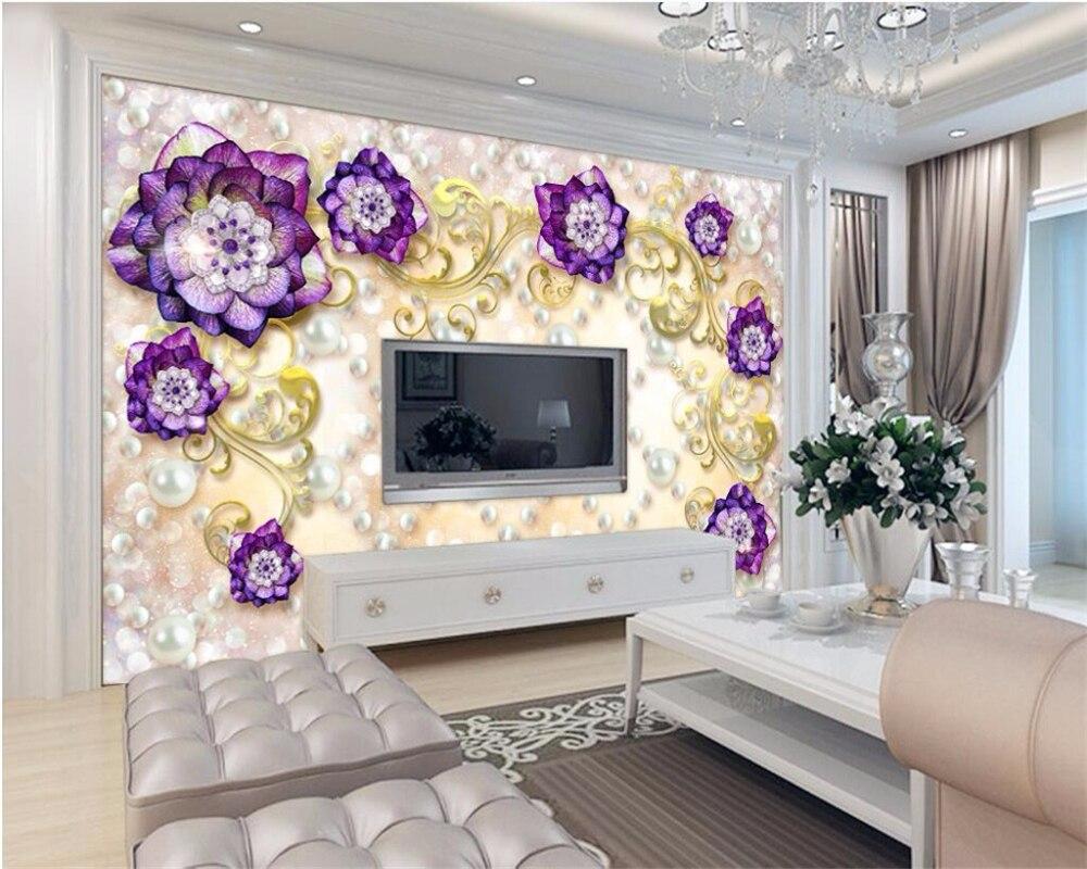 8 22 46 De Reduction Beibehang Papier Peint Personnalise 3d Noble Mural Violet Rose Bijoux Fond Mur Salon Chambre Decoration Papier Peint Peintures