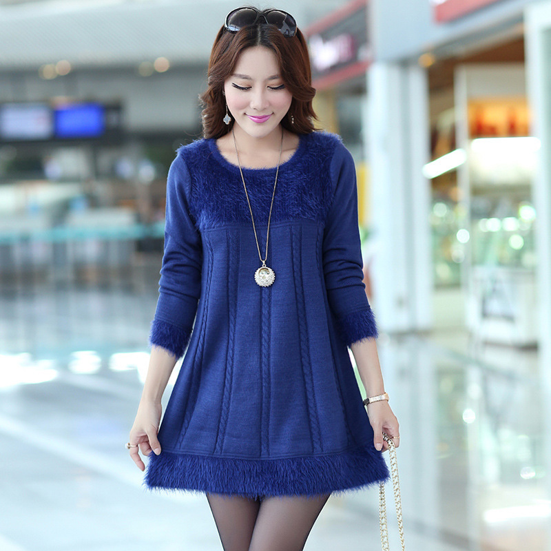 New Design Long Sweaters 2016 Autumn Winter Women Fashion Pullovers 5 Solid Color o-Neck Basic Knitted Sweater Dress Y0127-70D