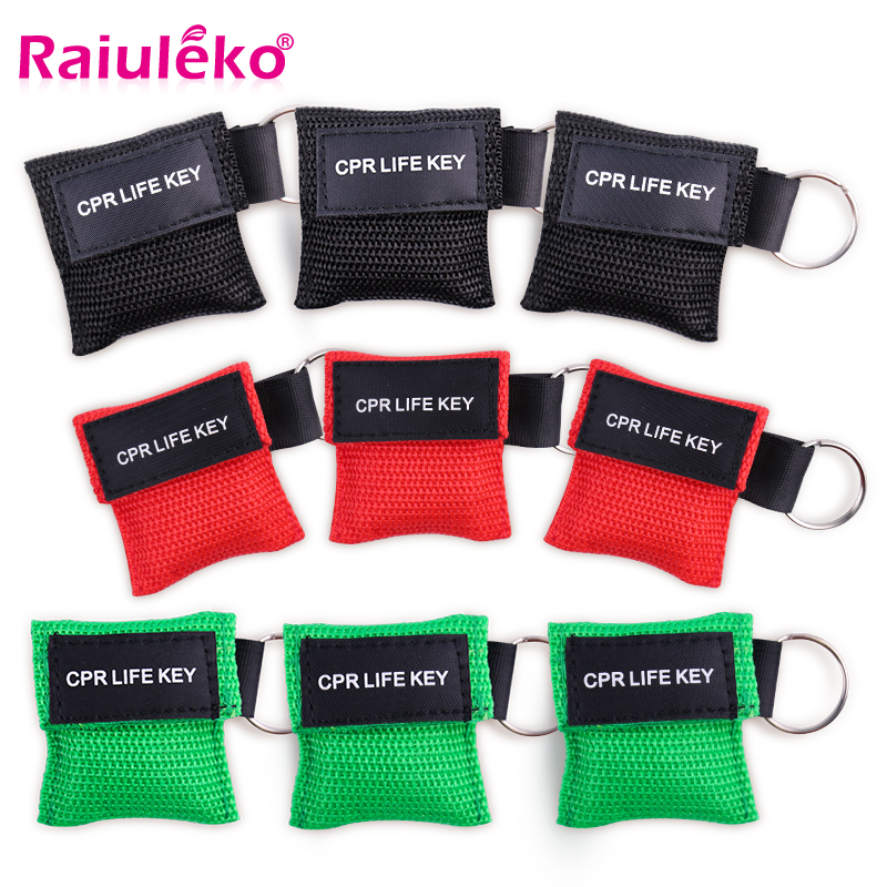 20pcs CPR Resuscitator Mask Keychain Emergency Face Shield First Aid Medical CPR Mask For Outdoor Survival First Aid Wholesale