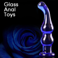 Blue Crystal Glass Anal Beads Butt Plug G-Spot Stimulation Dildos Massage Anal Sex Toy for Male Female Couples