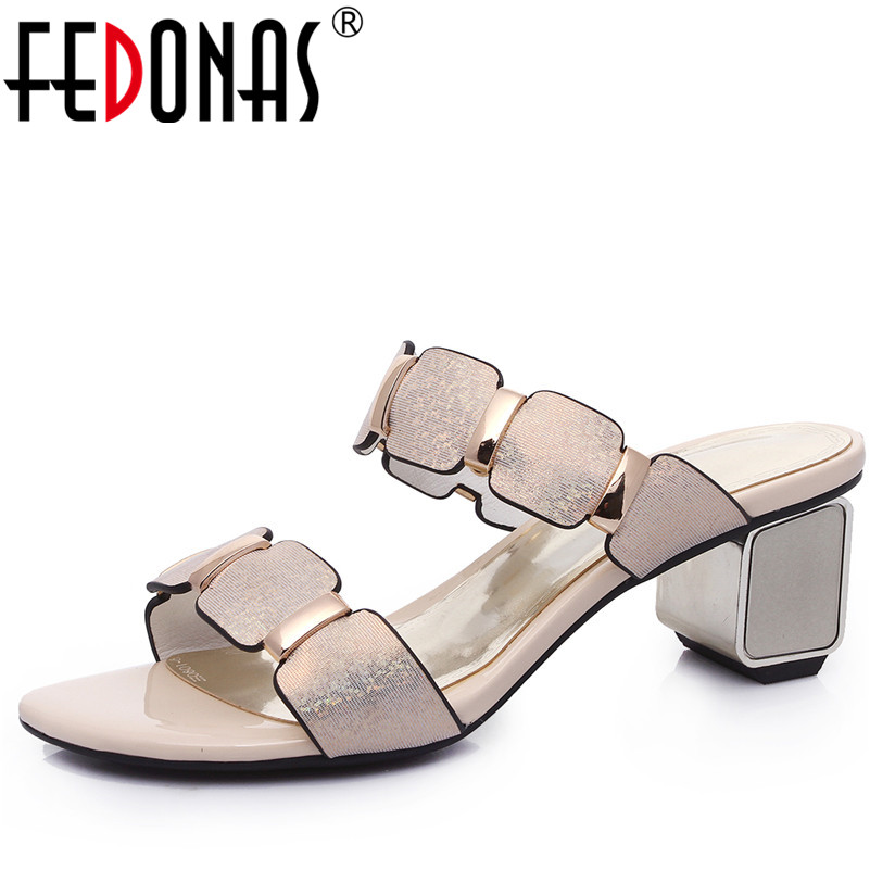 FEDONAS Fashion Women Elegant High Heels Sandals Sexy Genuine Leather Buckles Summer Shoes Woman Fashion Females Slippers fedonas brand women summer gladiator low heeled sandals fashion comfort slippers genuine leather elegant shoes woman sandals