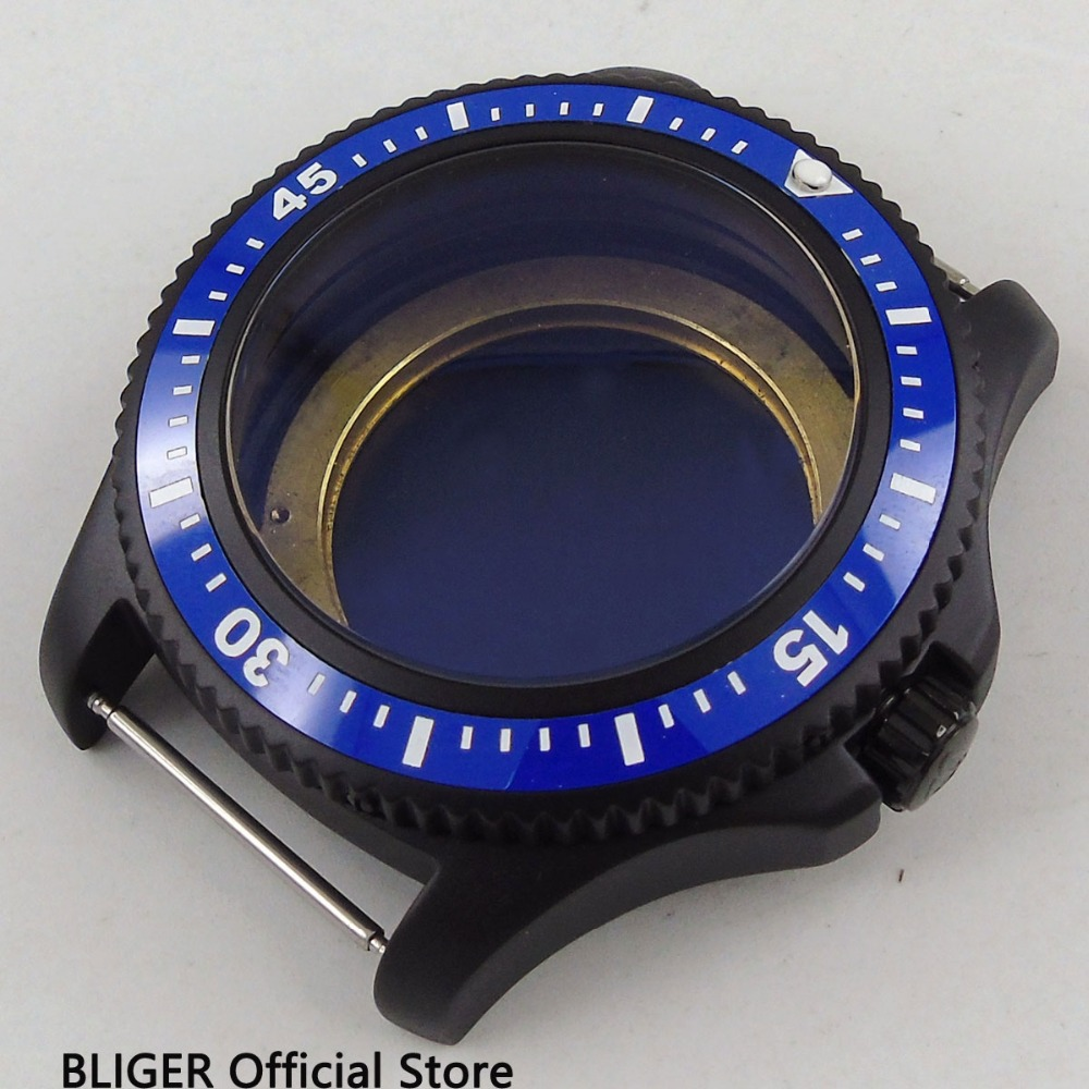 44mm Black PVD Coated Blue Ceramic Bezel Stainless Steel Watch Case Fit For ETA 2824 2836 Miyota 8215 8205 Automatic Movement цена