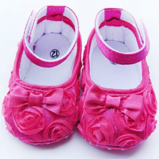 Hot sale Pink Mary Jane Baby Shoes Girls Toddler Soft Sole with Flowers 3pair/lot Free Shipping