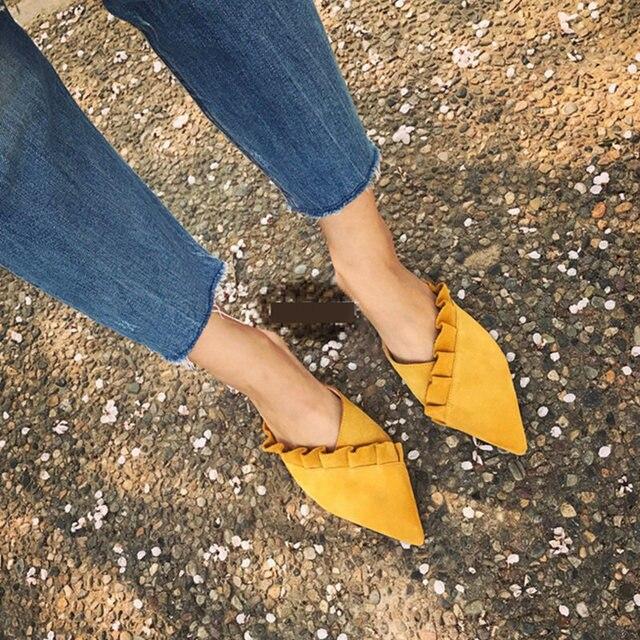 a63ecb904654d9 SUOJIALUN Women Slippers Flat Women Shoes Slip On Flat Mules Fashion Ruffles  Ladies Shoes Fabric Platform
