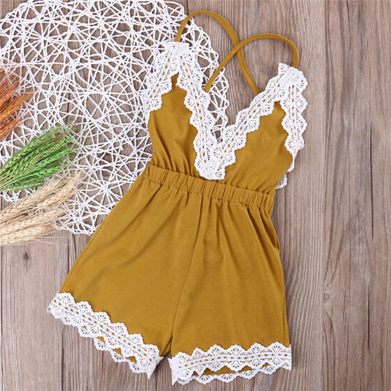 Summer Babys Girls Romper Newborn Infant Baby Kids Girls Cotton Solid Sleeveless Lace Jumpsuit Romper Outfits A84L30 v cut solid romper with tied strap