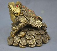 China Folk Frog Toad Ingot Lucky Auspicious Bronze Statue
