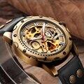 Мужские автоматические наручные часы Shenhua с бронзовым скелетом  механические мужские часы с автозаводом  мужские наручные часы с металличе...