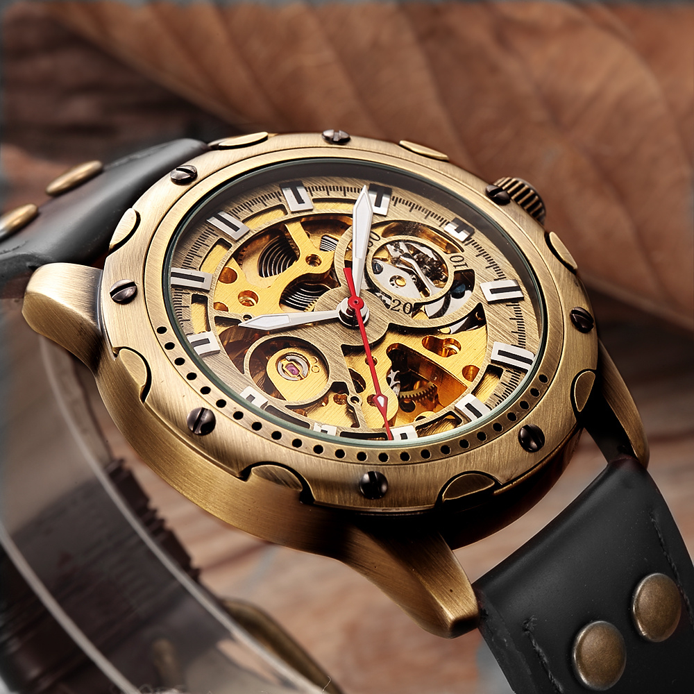 Shenhua Mens Bronze Skeleton Automatic Wrist Watch Mechanical Self Winding Men Watches Metal Steel/Leather Strap Wristwatch Man classy male mechanical automatic wristwatch for men mens watch skeleton self winding roman numbers analog leather wrist watches