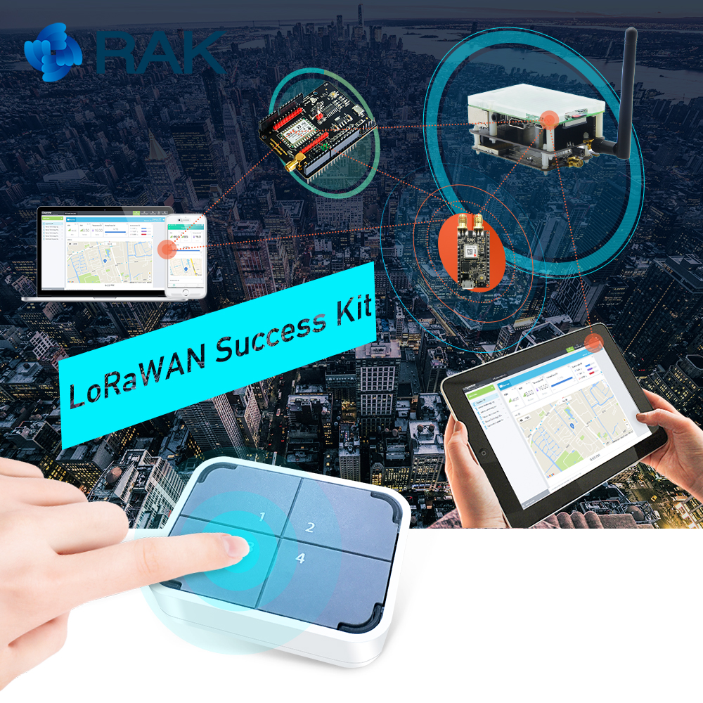 LoRaWAN Success Kit IoT LoRa Gateway Position Tracker Hardware With WisNode LoRa, Button Sensor LoRaWAN Hardware Developer Q139