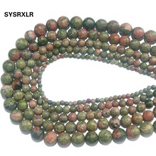 Wholesale Faceted Natural Stone Unakite Loose Beads For Jewelry Making DIY Bracelet Necklace Material 4/6/8/10/12 MM Strand 15''