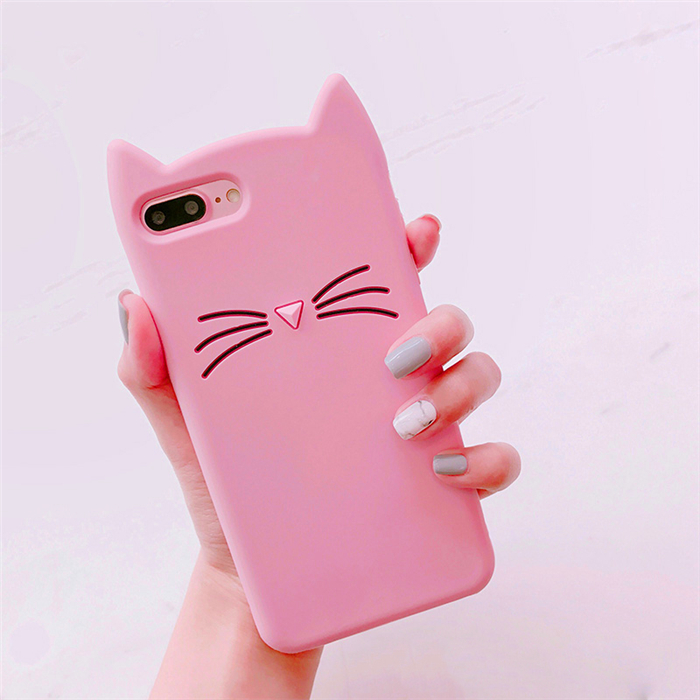 3D Cute Pink Cat Beard Soft Silicone Case for iPhone 8 8Plus 7 7Plus 6 6s and 6 plus Fundas cellphone accessoriess
