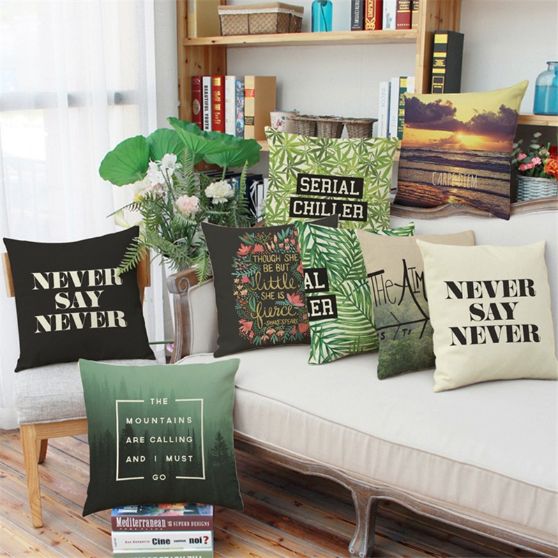 Home Textile Cushion Cover Green Leaf View Letter Words Sunset Plant Sofa Car Coffee Shop Hotel Home Club Chair Cushion Cover Decoration Pillow Case Gift Agreeable To Taste