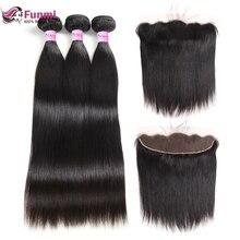 Funmi Virgin прямые пучки волос с фронтальной 3 Связки с фронтальной 13X4 малазийские человеческие пучки волос с фронтальной застежкой