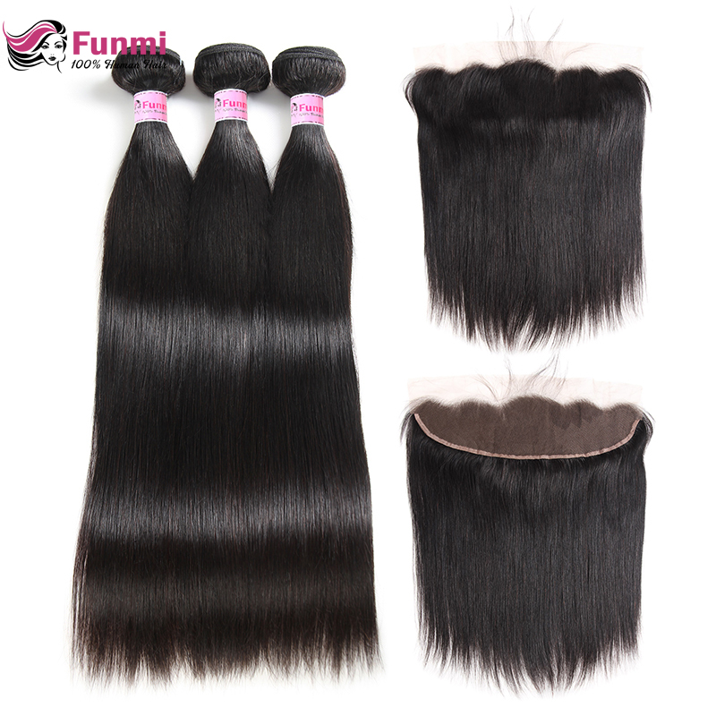 Funmi Virgin Straight Hair Bundles With Frontal 3 Bundles With Frontal 13X4 Malaysian Human Hair Bundles With Frontal Closure