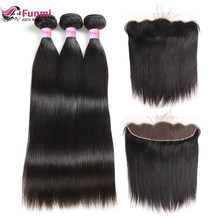 Funmi Virgin Straight Hair Bundles With Frontal 3 Bundles With Frontal 13X4 Malaysian Human Hair Bundles With Frontal Closure(China)