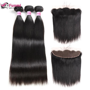 Funmi Hair-Bundles Frontal-Closure Virgin Straight with Malaysian 13X4