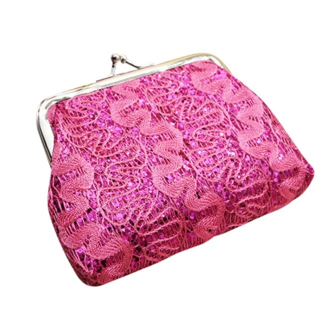 Fashion Womens Small Wallet Sequin Embroidery Card Holder Coin Purse Ladies Girl Casual Clutch Money Cash Change Bag HASP Purses