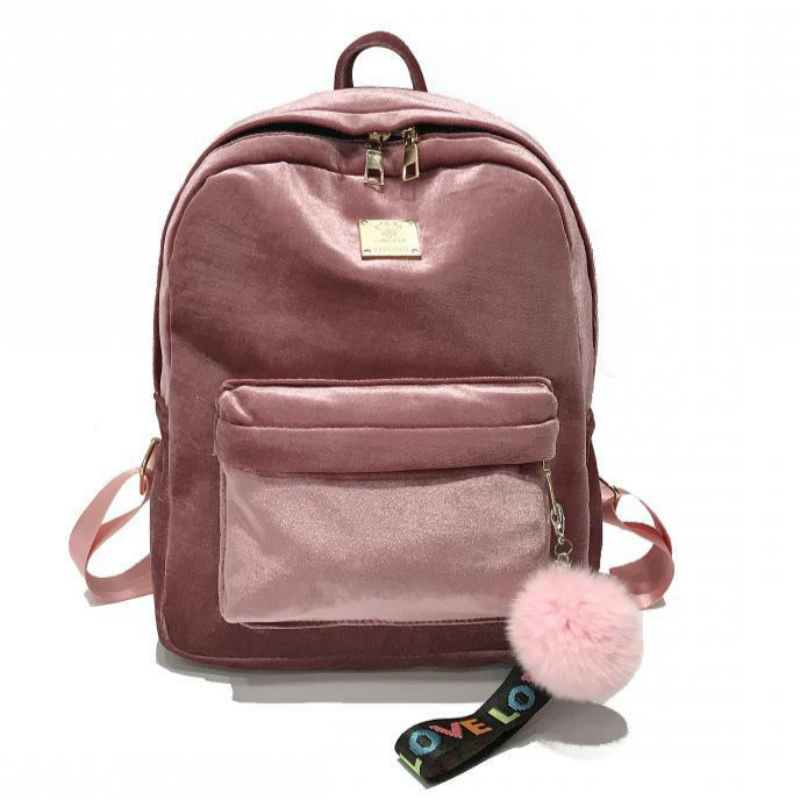 Women Backpack Velvet Ribbon Large School Bags for Teenage Girls Hairball College Backpack Bagpack Travel Bag Rucksack Mochila