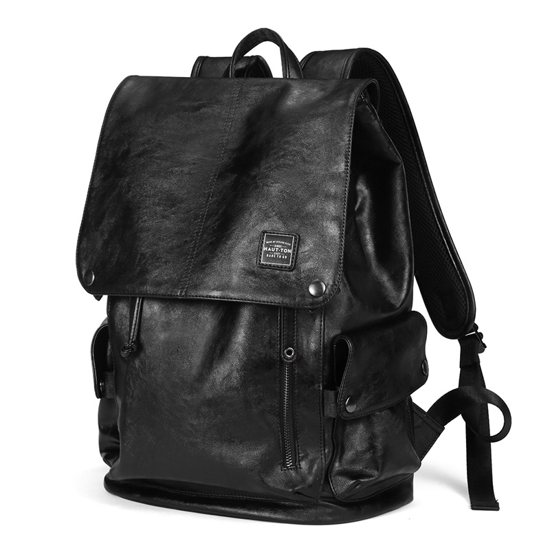 cc45b2de63 Vintage Unisex Genius Leather Casual Backpack Men Women Laptop School  Bookbag Men Backpack Travel Rucksack Black