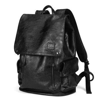 4e614f7bbff1 Vintage Unisex Genius Leather Casual Backpack Men Women Laptop School  Bookbag Men Backpack Travel Rucksack Black