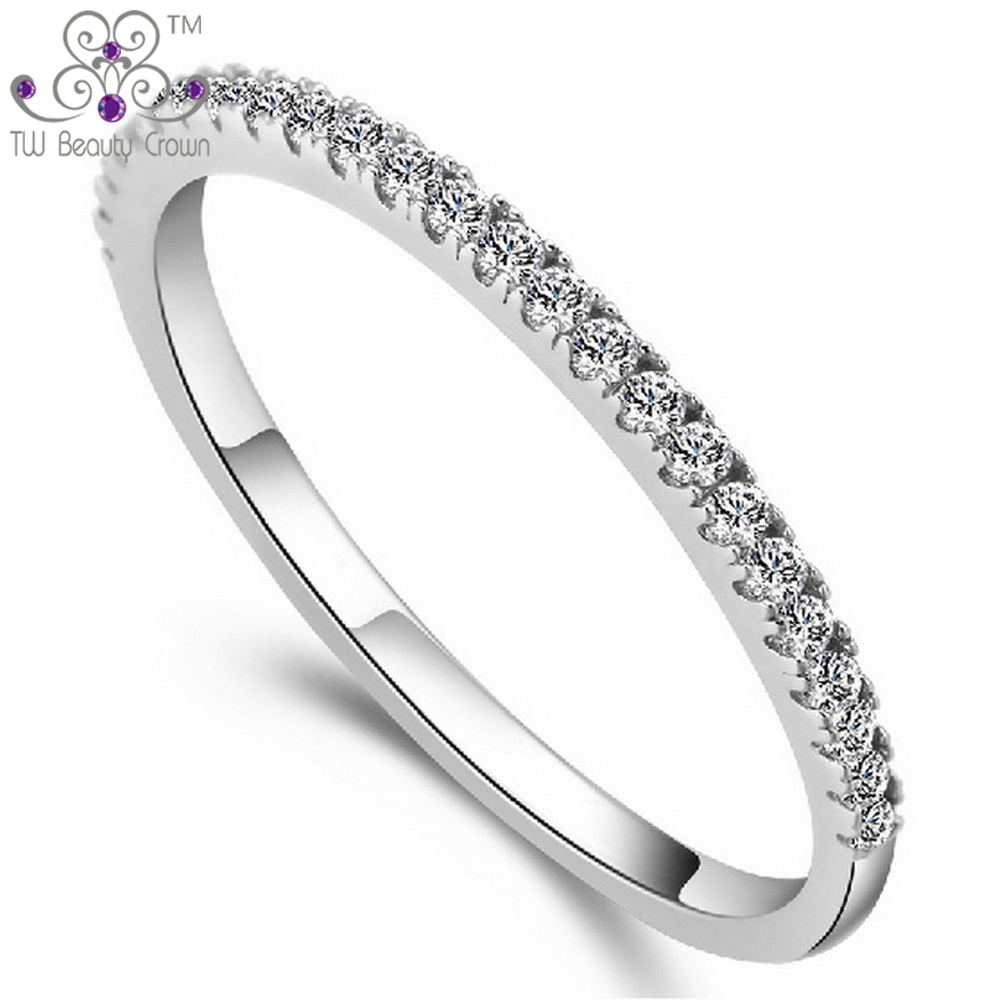 0.015 Carat Real Real 925 Sterling Silver Red Purple Clear CZ Zirconia Rings for Women Wedding Engagement Jewelry CZ Micro Pave