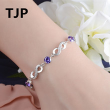 TJP Fashion Round Purple Crystal Women Bracelet Jewelry 925 Sterling Silver Bangle Shining Zircon Stones Around Dropshipping