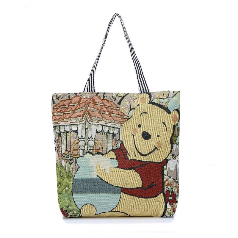 Cartoon Winnie The Pooh Women Handbag Fashion 3D Printing Girls Clutch Bag Canvas Handbags Shoulder Tote Bag Beach Bolsos