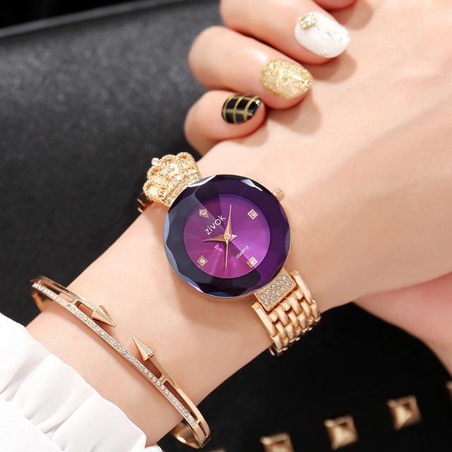 zivok Brand Luxury Women Bracelet Watches Rose Gold Fashion Quartz Wrist Watch C