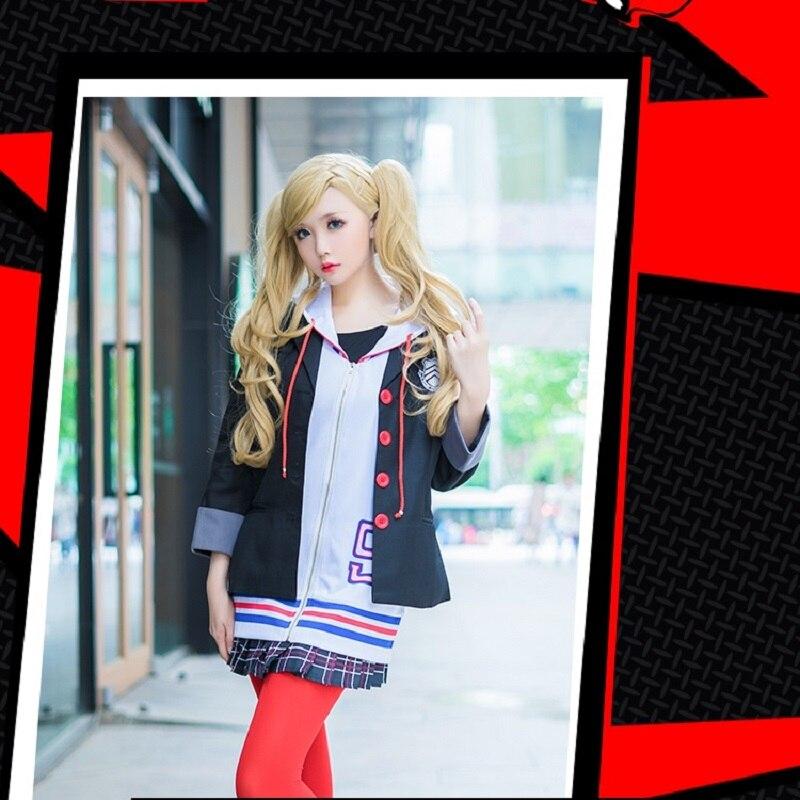Persona 5 Cosplay Costume Anne Takamaki School Uniform Anime Cosplay Women Costume Coat + Shirt + Skirt