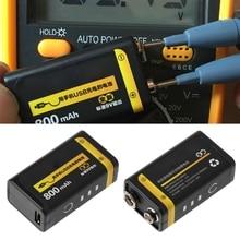 9V 800mAh Micro USB Aufladbare Lipo Batterie für Multimeter Mikrofon Fernbedienung