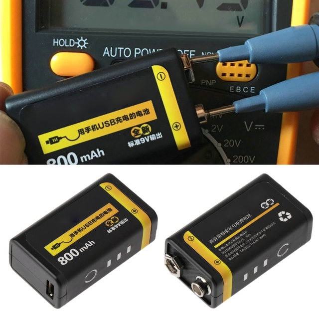 9V 800mAh Micro USB Rechargeable Lipo Battery for Multimeter Microphone Remote