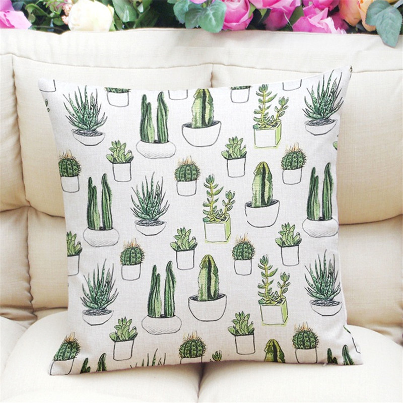 Home&Car Decor Pillowcase Brand Throw Cactus Pattern Decorative Cushion Cover for Sofa Couch Love Seat 45x45cm Housse de coussin