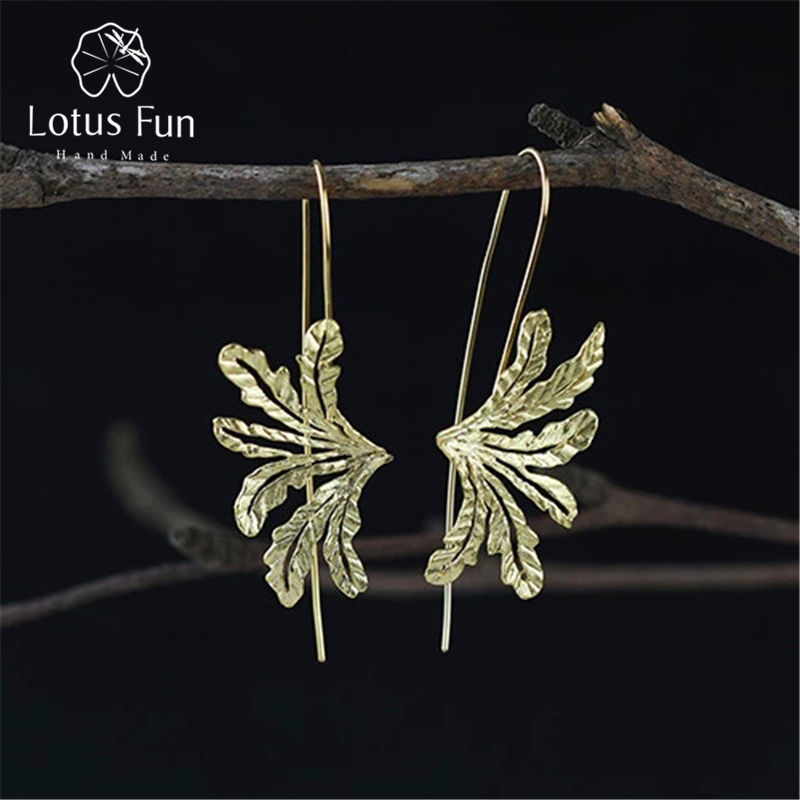 Lotus Fun Real 925 Sterling Silver Natural Original Handmade Fine Jewelry Special Grass Fashion Drop Earrings