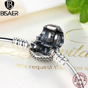 Image 4 - BISAER 925 argent Sterling Pulseira flocon de neige bracelets 925 coeur serpent chaîne fermoir femme argent bracelet pour femmes bijoux