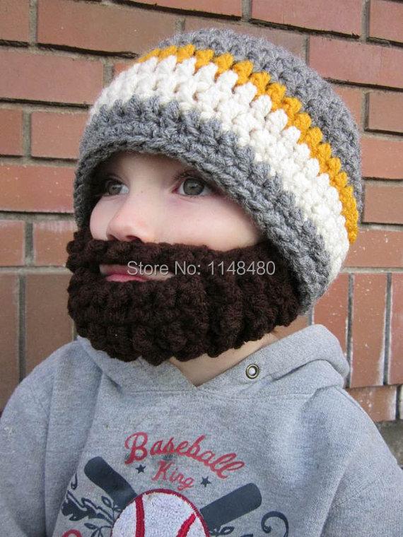 f7ea2527ebd New Baby Boy Beanie outdoor caps Hand Knitted Crochet beard hat Warm ...