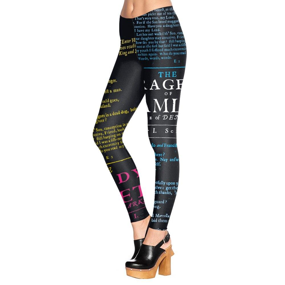 KDK1445 Sexy Girl Colorful Letter Newspaper Daily Printed Elastic Slim Fitness Women Jogging Sport Yoga Leggings Pants Trouser