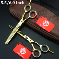 5.5/6.0 inch Professional Hair Scissors set Straight & Thinning scissors Hairdressing Barber shears 440C