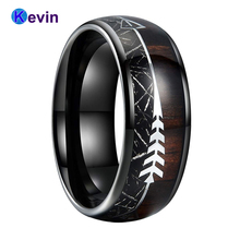 Black Meteorite Ring Tungsten Wedding Band For Men Women Dome Band With Arrow Koa Wood Inlay Comfort Fit недорого
